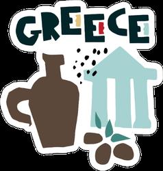 Cartoon Greece Symbols Sticker