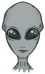 Cartoon Grey Alien Face Sticker