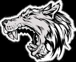Cartoon Growling Grey Wolf Head Sticker