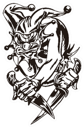 Cartoon Illustration Clown Face Holding A Knife Sticker
