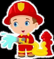 Cartoon Illustration Of A Child Firefighter Sticker