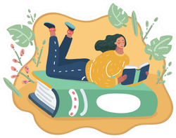 Cartoon Illustration Of A Girl Lying On Green Book Sticker