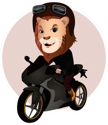 Cartoon Illustration Of A Lion Riding A Motorcycle Sticker