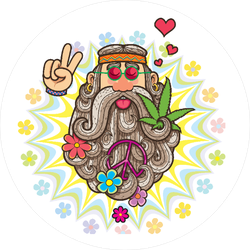 Cartoon Illustration Of Hippie Man Sticker