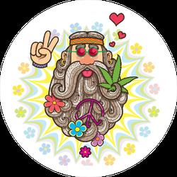 Cartoon Illustration Of Hippie Man Sticker