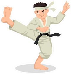 Cartoon Illustration Of Karate Boy Sticker