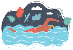 Cartoon Illustration Of Male Swimming Sticker