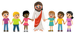 Cartoon Jesus with Children Sticker