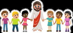 Cartoon Jesus with Children Sticker