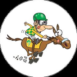 Cartoon Jockey Riding A Horse Sticker