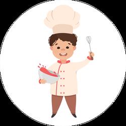 Cartoon Kid Chef Sticker