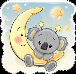 Cartoon Koala On The Moon Sticker