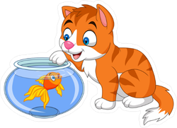 Cartoon Little Cat Playing With Gold Fish Sticker