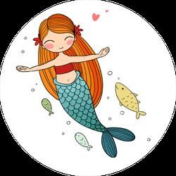 Cartoon Little Mermaid And Fish Sticker
