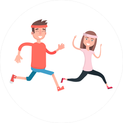 Cartoon Man And Woman Runners Sticker