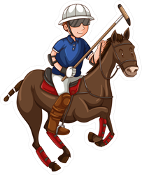 Cartoon Man On Horse Playing Polo Sticker