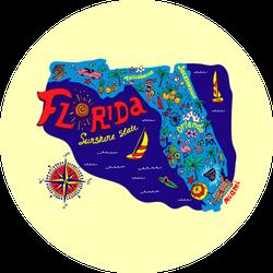 Cartoon Map Of Florida State Sticker