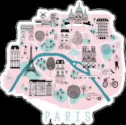 Cartoon Map Of Paris Sticker