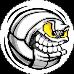 Cartoon Mean Face Volleyball Ball Sticker
