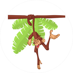 Cartoon Monkey Hanging From The Tree Sticker