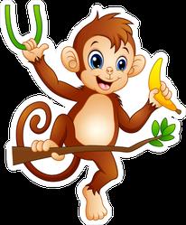 Cartoon Monkey On A Tree Branch Holding Banana Sticker