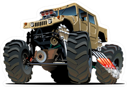 Cartoon Monster Jeep Sticker