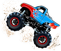 Cartoon Monster Truck in a Wheely Sticker