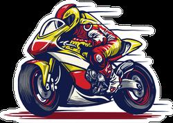 Cartoon Motorcycle Race Sticker