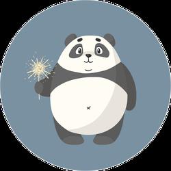 Cartoon Panda With Sparkler Sticker