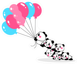 Cartoon Pandas Flying Away With Bundle Of Balloons Sticker