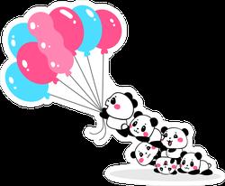 Cartoon Pandas Flying Away With Bundle Of Balloons Sticker