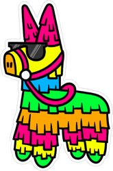 Cartoon Pinata Wearing Sunglasses Sticker
