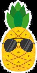 Cartoon Pineapple In Glasses Sticker