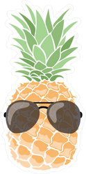 Cartoon Pineapple In Sun Glasses Sticker