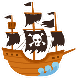 Cartoon Pirate Ghost Ship Sticker