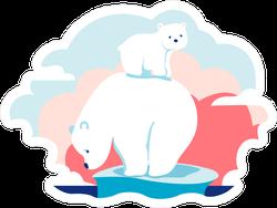 Cartoon Polar Bears on Ice Sticker