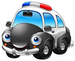 Cartoon Police Car Character Sticker