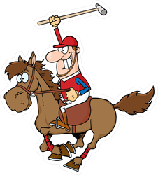 Cartoon Polo Player Sticker