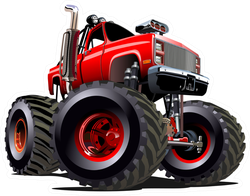 Cartoon Red Monster Truck Sticker