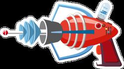 Cartoon Red Retro Space Blaster Sticker