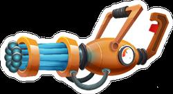 Cartoon Retro Machine Gun Laser Weapon Sticker