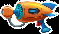 Cartoon Retro Space Blaster Handgun Sticker