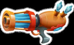 Cartoon Retro Space Blaster Rifle Gun Sticker