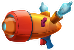 Cartoon Retro Space Blaster Sticker
