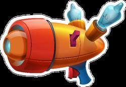 Cartoon Retro Space Blaster Sticker