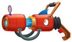 Cartoon Retro Space Cannon Gun Sticker