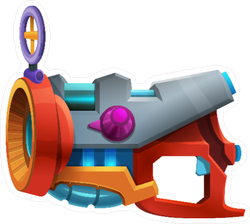 Cartoon Retro Space Laser Bomb Weapon Sticker