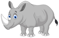 Cartoon Rhino Sticker