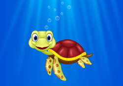 Cartoon Sea Turtle Swimming In The Ocean Sticker