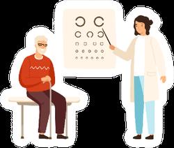 Cartoon Senior Male At Ophthalmologist Cartoon Sticker